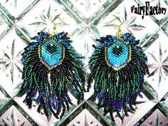 Peacock earrings Pattern - seed beads handmade peyote jewelry