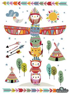 Teepee Owls - Illustration - Inga Wilmink