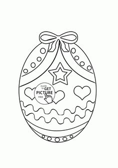 Easter Egg with Bow coloring page for kids, coloring pages printables free - Wuppsy.com