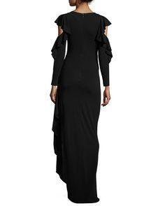 TUZZ5 Rickie Freeman for Teri Jon Cold-Shoulder Draped Jersey Column Gown, Black