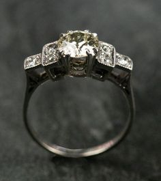 Diamond Single Stone Ring set in Platinum with a Gold Shank by Ruby Gray's   Ruby Gray's Antique & Vintage Rings