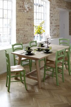 Rufus Dining Table With Bright Green Jak Chairs Inspired By Van Goghs Chair