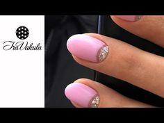 Silver Glitter & Pink Gel polish Half-Moon manicure Nail Art step by step #IraVakula - YouTube