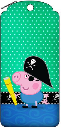 Tag Agradecimento George Pig Pirata: Cumple George Pig, Peppa Pig Printables, Peppa Big, George Pig Party, Cumple Peppa Pig, Ben And Holly, 2nd Birthday Parties, Pig Birthday, Pirate Party