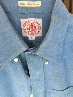 J. Press Chambray Button down, sewn by the New England Shirt Co.  It has a VERY nice collar roll when worn with a tie.