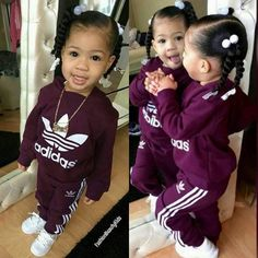 Precious little girl sportin' Adidas. Looks like my daughter back in the day. Even the way I styled her hair & dressed her. Flashback.