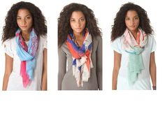 The perfect summer scarves -  loving the beautiful printed silk cashmere scarves from We Are Owls