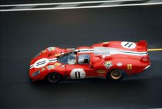 Sam Posey goes past start/finish in his NART Ferrari 512 S Coda Lunga during the 1970 Le Mans.