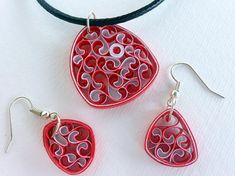 Paper Quilled Necklace Paper Quilled Earrings Paper Quilling