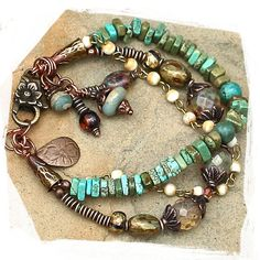 turquoise, opalescent Czech beads, multi strand bracelet - rocksandpaperswans.etsy.com