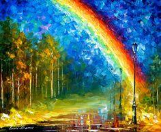 Rainbow ORIGINAL Landscape Modern Wall Art by AfremovArtStudio