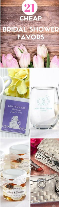 A collection of inexpensive Bridal Shower Favor ideas both DIY and to-order