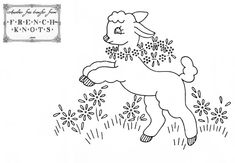 Baby Lamb Embroidery Transfer Pattern