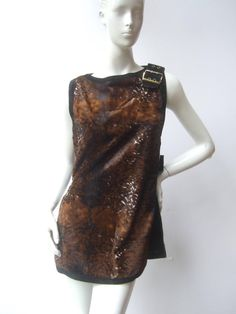 Mod Animal Print Cloth Suede Trim Tunic Made in Italy c 1970
