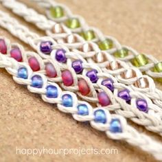How to Make Woven Wish Bracelets at www.happyhourprojects.com   Great summer project! Cheap and quick to make, it's a perfect camp craft or group craft!