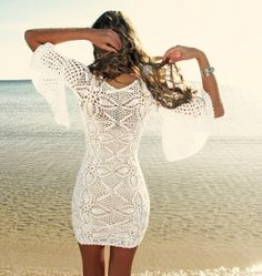 Crochet summer dress- i bet it would be so cute over a swim suit :)