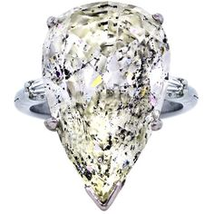 Pre-owned 14.33 carat Pear Shaped Diamond Platinum and Gold Engagement... ($149,995) ❤ liked on Polyvore featuring jewelry, rings, engagement rings, diamond engagement rings, 18k gold ring, platinum engagement rings, baguette diamond ring and pre owned diamond rings