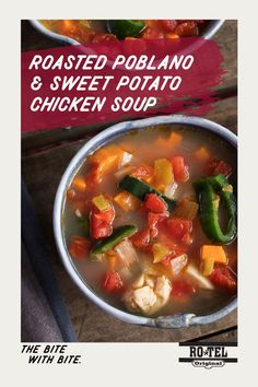 Get a little taste of everything with Roasted Poblano and Sweet Potato Chicken Soup. Adding some heat from Ro*Tel tomatoes makes this the perfect meal to warm the family up this holiday season. Healthy Soup, Healthy Recipes, Healthy Foods, Hearty Chicken Soup, Ro Tel, Slow Cooker Recipes, Cooking Recipes, Roasted Poblano Peppers, Soup Dish