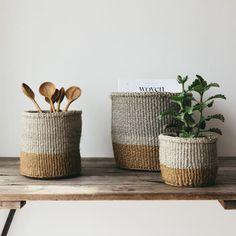 Sisal Woven Basket Grey