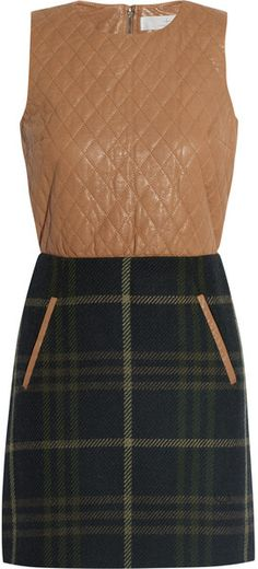 THakoon Quilted Leather and Plaid Woolblend Mini Dress | The House of Beccaria