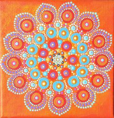 Mandala painting on canvas original art mini by BenDyerOriginalArt