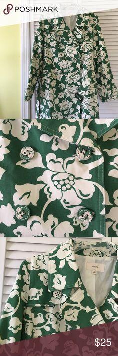 EUC Trench coat Green flowers   trench coat Merona Jackets & Coats Trench Coats