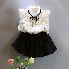 Roupas meninas 2016 nova verão crianças roupas meninas sem mangas listrado + saia preta da criança roupas em Conjuntos de roupas de Mãe & Kids no AliExpress.com   Alibaba Group