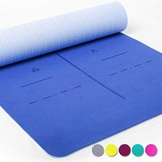 Heathyoga Eco Friendly Non Slip Yoga Mat, Body Alignment System, SGS Certified TPE Material - Textured Non Slip Surface and Optimal Thickness (Ashy-Dark) Best Gym, Best Yoga, Pranayama, Sutra, Gym Mats, Yoga Mats, Yoga Towel, Yoga Equipment, Yoga Block