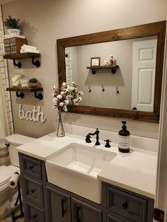 Bathroom Renovations, Home Remodeling, Remodel Bathroom, Reclaimed Wood Mirror, Rustic Mirrors, Rustic Vanity, Bathroom Interior, Farmhouse Decor Bathroom, Small Rustic Bathrooms