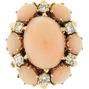 Stunning Impressive Large Angel Skin Coral 0.50 H/VS-SI1 Diamond 14k Gold YG ...