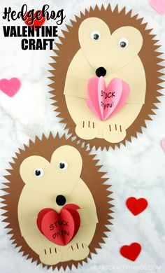 The Cutest Hedgehog Valentine Craft : See how easy it is to make this hedgehog Valentine craft with our free hedgehog template. Fun hedgehog Valentine card for kids to make. We also have more kid-made Valentine card idea for kids on our website. Valentine Crafts For Kids, Valentines Day Food, Crafts For Kids To Make, Crafts For Teens, Crafts To Sell, Valentines Anime, Hedgehog Craft, Cute Hedgehog, Valentine's Cards For Kids