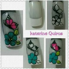 Easy flower and butterfly nail art tutorial