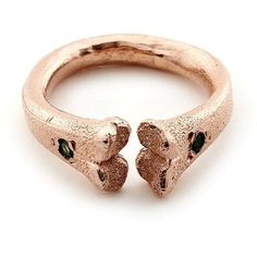 Rachel Entwistle Rose Gold Bone Ring with Emeralds ($440) ❤ liked on Polyvore featuring jewelry, rings, pink gold jewelry, pink gold rings, emerald ring, rose gold jewelry and rose gold jewellery