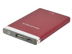 Battery Backup and LED Flashlight for iPhone®, iPod®, and other USB Mobile Devices (3500mAh, 1A) - Red