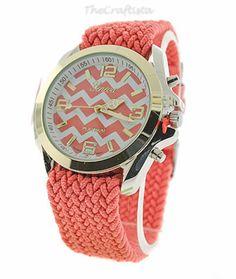 Chevron Ladies Watch Coral -- Christmas Gift -- Birthday Gift -- Hot Item on Etsy, $18.99