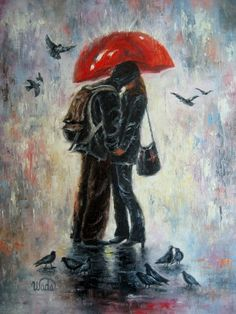 kiss under the red umbrella