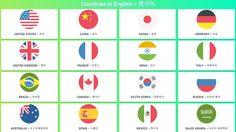 국가 영어 ° 미국, 유럽 및 아시아 Countries in English and Korean
