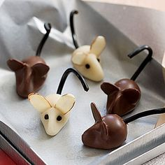 Marzipan Mice #Halloween | http://www.rachaelraymag.com/Recipes/rachael-ray-magazine-recipe-search/on-hand-ingredients-recipes/marzipan-mice