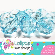 TURQUOISE Faceted Round Beads 20mm Transparent Chunky Necklace Beads 10ct Acrylic Beads Clear Gumball Beads Bubble Gum Beads Bubblegum Beads by LollipopBeadShoppe on Etsy, $3.75