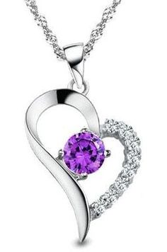 "I LOVE YOU: Rhodium Plated 925 Sterling Silver Amethyst Diamond Accent Heart Pendant Necklace 18""-SN3254: Jewelry"