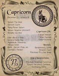 Astrology Discover Capricorn Zodiac Sign Book of Shadow Printable PDF Wicca Astrology Horoscope Correspondence Grimoire Page Magic Journal Witch Book