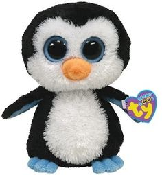"Ty Beanie Boo's Penguin Blue Eyes ""Waddles"" Black White Stuffed Animal Toy 