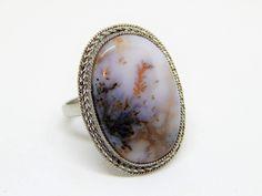 Аnello con agata dendritica, anello con paesaggio naturale, anello bianco nero, anello con pietra gemma by HELGASHOP on Etsy