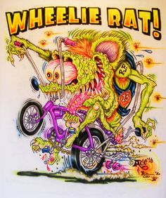 JOHNNY ACE Ed Roth Rat Fink AIRBRUSHED MONSTER SHIRT Wheelie Stingray Tee Revell #JohnnyAceStudiosEdBIGDADDYRoth