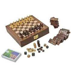 Spieleset aus Holz mit Schach, Domino und mehr. Das handgefertigte Geschenke India 20 cm. Mehr Infos auf: www.ztyle.de