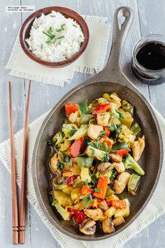Teppenyaki de verduras y pollo. Receta