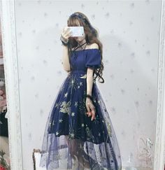 Harajuku Style Off Shoulder Gauze Dress Sweet Lolita Starry Sky Skirt One Piece Pretty Outfits, Pretty Dresses, Beautiful Dresses, Cute Outfits, Fall Outfits, Harajuku Fashion, Lolita Fashion, Harajuku Style, Star Fashion