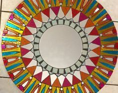 Mosaic Mirror Stained Glass Round by SpoiledRockinMosaics on Etsy