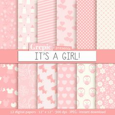 """Baby girl digital paper: """"ITS A GIRL"""" with cute pink baby girl owls, hearts, flowers, bottles, dots, stripes for scrapbooking, cards #digitalpaper #scrapbooking"""