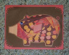 Pig Iris-Folded Card by FoldsWithLoveByHolly on Etsy, $4.00